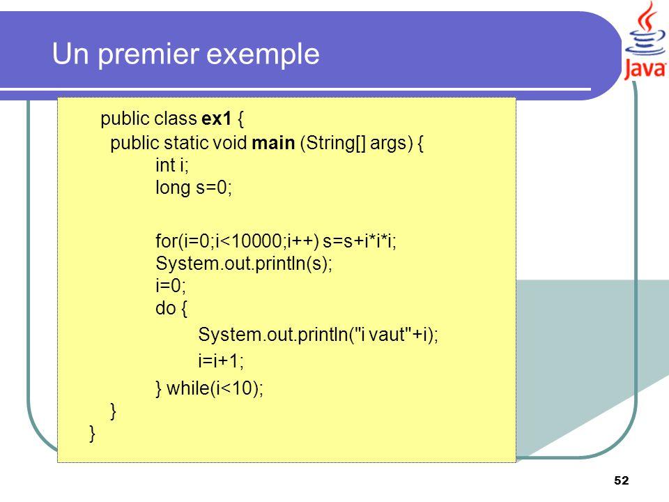 Un premier exemple public class ex1 { public static void main (String[] args) { int i; long s=0;